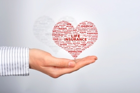 life insurance with red heart & words & hand holding heart graphic